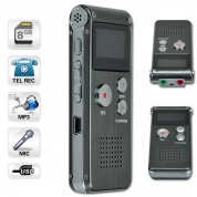 Diktofons 8Gb, Dual mic, Li-on battery, Grey